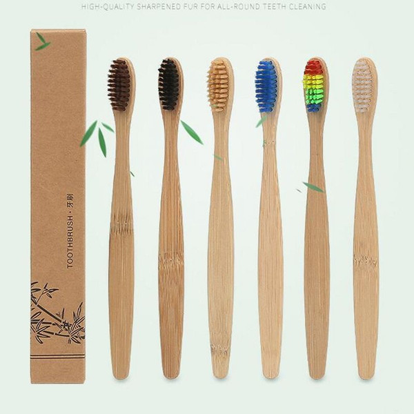 Bamboo toothbru h natural handle rainbow colorful whitening  oft bri tle  bamboo toothbru h eco friendly oral care  oft bri tle