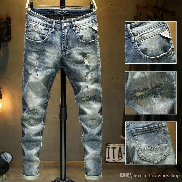 2020 new diesel mens distressed ripped biker jeans slim fit motorcycle denim for men luxury designer hip hop mens good quality фото
