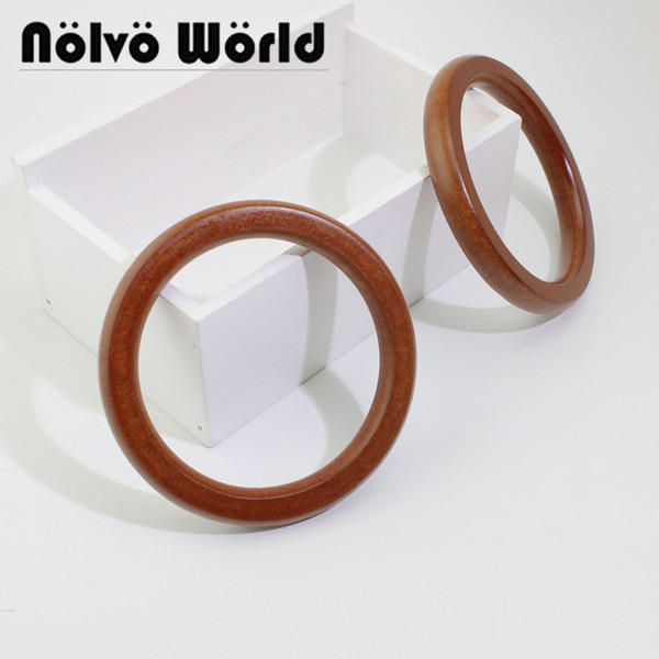5 pairs=10 pieces,11cm brown color plywood bag handle,small wood round curb handles for purse making (472959316) photo