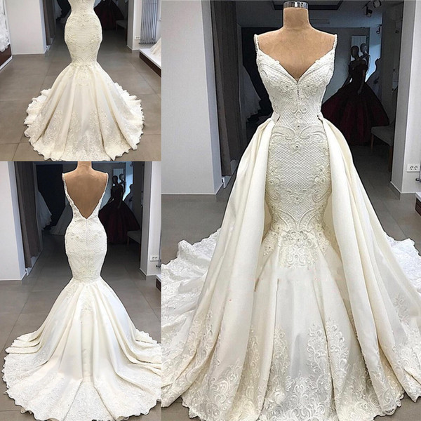 Dubai arabic luxury gorgeou mermaid wedding dre e with detachable train lace applique illu ion high wai t bridal wedding dre