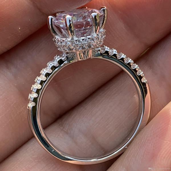 Прекрасная милая Корона обручальное кольцо кольцо счастливая мода ювелирные изделия стерлингового серебра 925 пробы круглая огранка Белый Топаз CZ Алмаз обручальное кольцо палец кольца фото