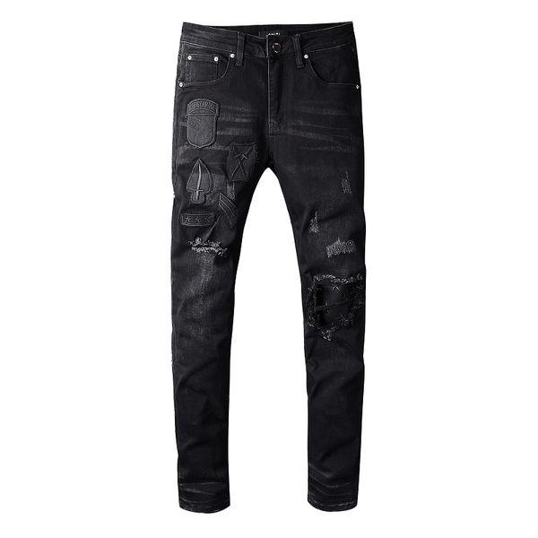 2020 Лучшие качества Amirl Jeans # 618 Известный дизайнер бренда Luxury Jeans Men Fashion Street Wear Мужские джинсы Байкер Man Популярные Брюки Hip Hop фото