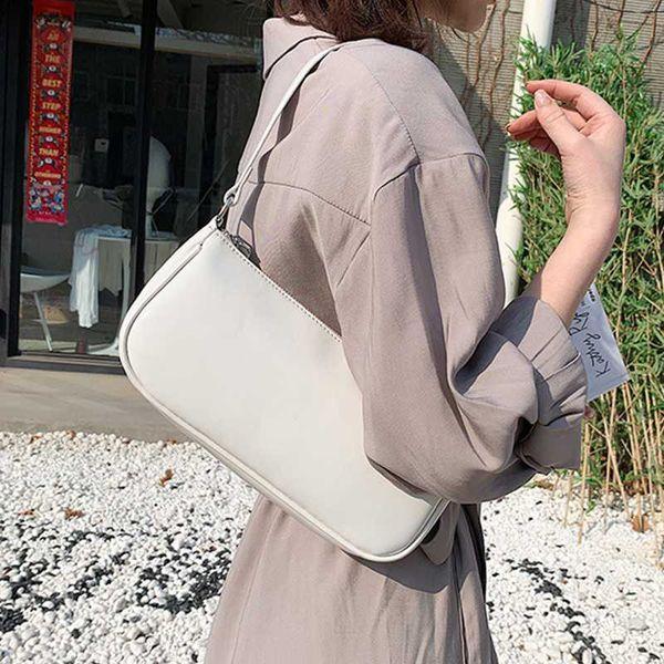 retro patent leather shoulder bag for women pu armpit bag french baguette solid color small handbag advanced lady tote purse (553017592) photo