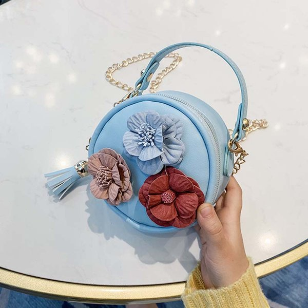 2020 new little children small round bag cute flower handbag purse simple diagonal bag trend baby's mobile phone purse for girl (542677762) photo