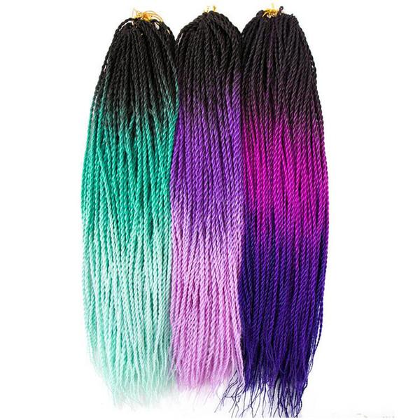 Xiuyuan hair ynthetic ombre kanekalon braiding hair enegale e twi t crochet braid hair exten ion 24inch 30 root pack