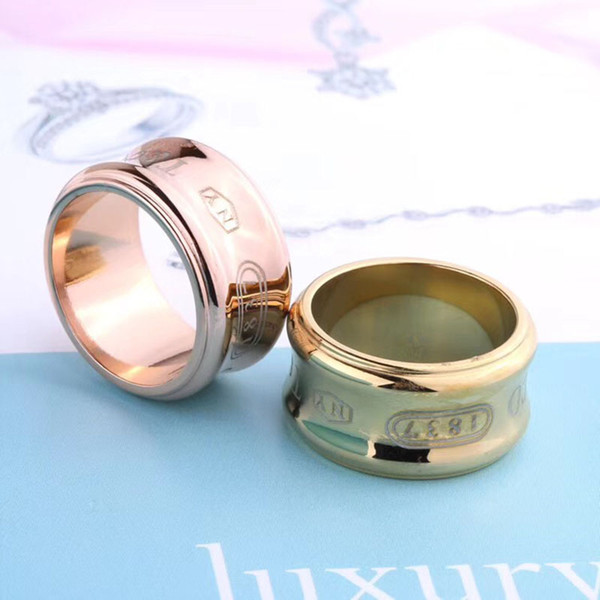 Brand T ring Titanium Steel Sliver Rose Gold and Gold plated love ring gold for lovers couple V Ring Good quality