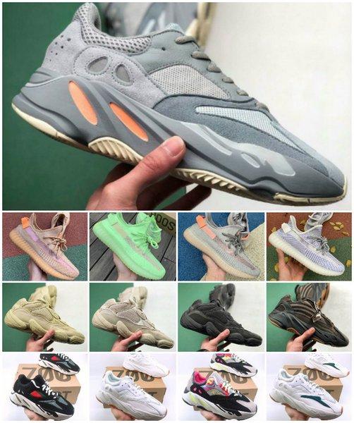 2019 700 V2 Статическая Инерционные обувь Kanye West 700S Wave Runner Мужчины Женщины Тренеры GID 3M