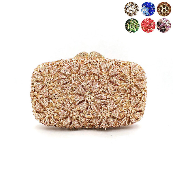 nigeria ladies bridal wedding party purses women evening party diamond luxury flower clutches elegant crystal purses (510050605) photo