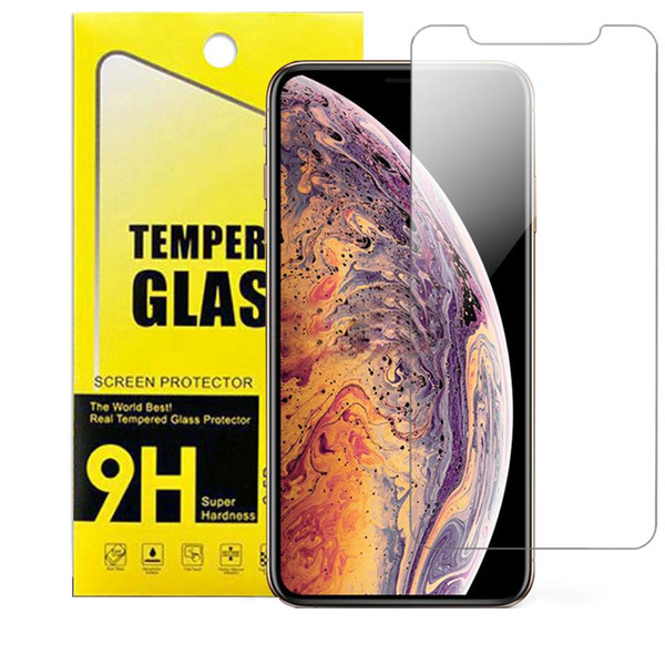 For iphone xr x  max 8 7 plu  tempered gla   clear  creen protector for  am ung galaxy j7 j5 prime paper package