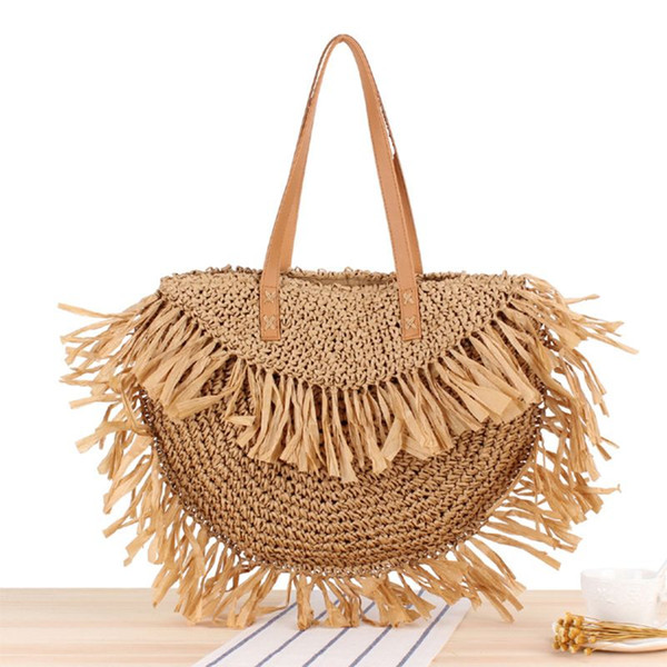 2019 fashion straw bag tassel women woven beach tote handbag hobo weave shoulder bag purse (503735588) photo