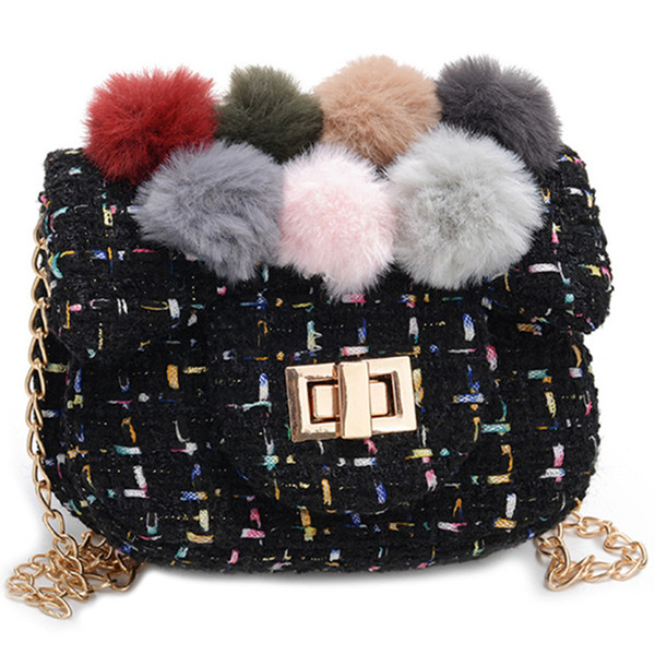 good sale small cute plush ball messenger bag princess girl party bag purse soft fashion shoulder bow hair ball handbag (499085889) photo
