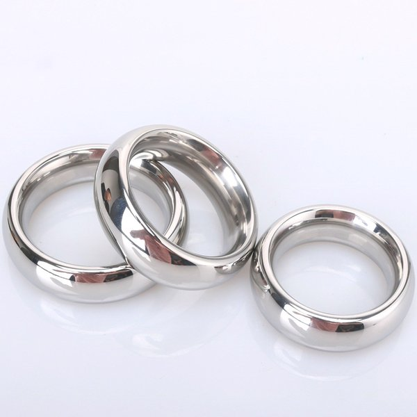 (9.5mm thickness),40mm,45mm,50mm size Male Penis Ring Stainless steel Help Erection & Delaying time weight ring scrotum ring Sex toys men