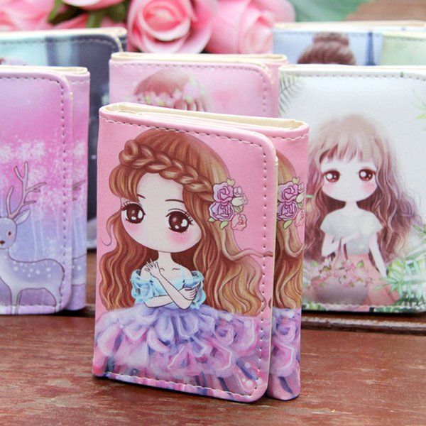 2019 korean women ladies colorful lovely girl doodle pattern rectangle wallet purse bag (535668517) photo