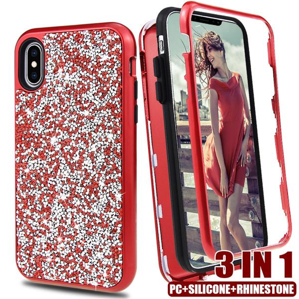 2019 НОВЫЙ 3in1 ПК + силиконовые чехлы Hybird Diamond Rhinestone для iPhone XR XS MAX 8 7 6 Plus чехол 360 Protector D фото