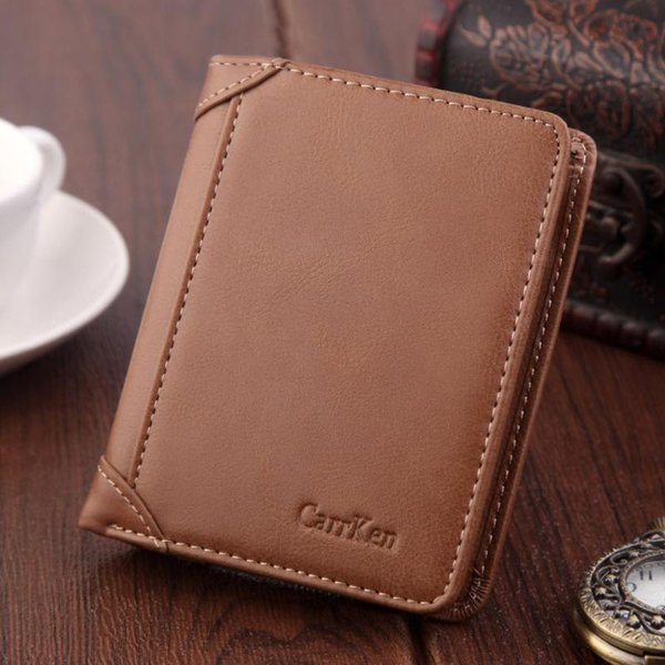 leather men's wallet slim short holder wallets luxury retro purse coin slim solid purses business purses male @a24 (524274405) photo