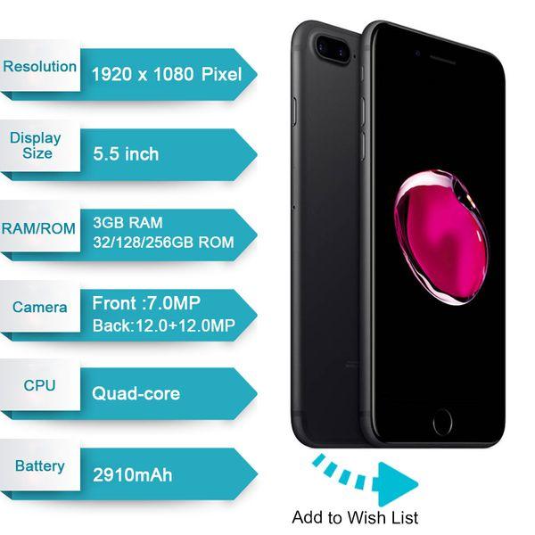 original apple iphone 7 7 plus with touch id 32gb 128gb ios10 quad core 12.0mp refurbished unlocked phone