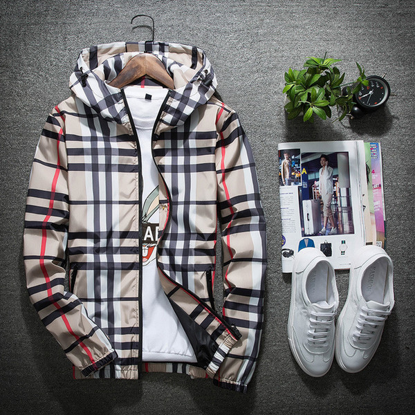 Fa hion de igner jacket ca ual windbreaker long leeve plu ize m 5xl luxury men jacket zipper pocket men hoodie coat plaid jacket