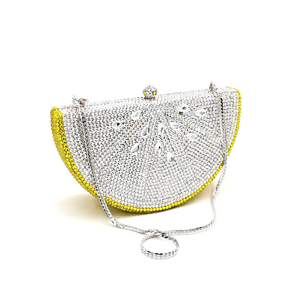special design bridal wedding party purses women evening party diamonds fruit lemon slice crystal clutches full crystal purses (499357830) photo