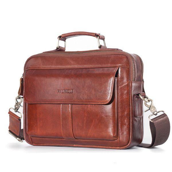 men's the first layer cowhide leather briefcase shoulder messenger bag male totes bag handbag large capacity business purse (523257010) photo