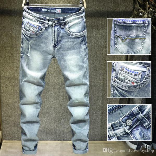 Огорчен разорвал байкер джинсы Slim-подходят мотоцикл байкер джинсы для мужчин мода дизайнер хип-хоп мужские джинсы дизель-де-дизайнер залить людей фото
