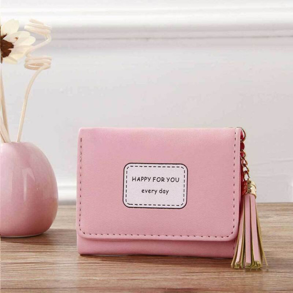 mini women's tassel wallet card holder clutch coin purse leather handbag purse (520251536) photo