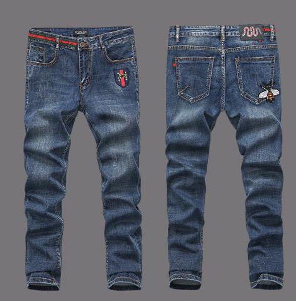 New Men's Fashion Designer Men's Jeans Distressed Moto Denim Joggers Washed Pleated Jean Pants size 28-40