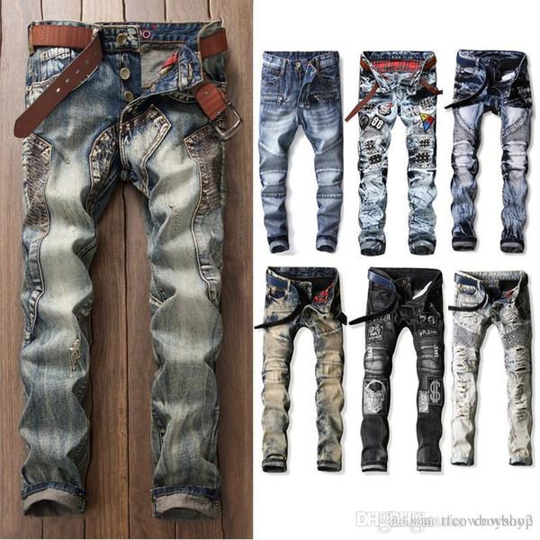 Новые мужские разорвал байкер джинсы мотоциклов Slim-подходят байкер джинсы для мужчин мода дизайнерские джинсы 2020 дизельный тощий роскошные хорошее качество фото