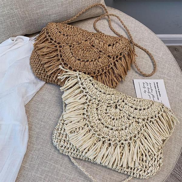 fashion tassel straw bags rattan weave women handbags designer luxury handmade paper shoulder crossbody bags summer beach purses (533476894) photo