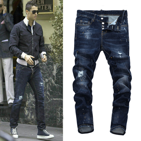 Euro Fashion Men Blue Bleach Jeans Tidy Biker Denim Jean Paint Spot Damage Slim Fit Distressed Cowboy Pants Man