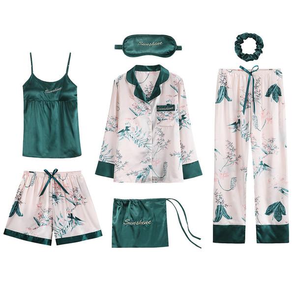 Новый 7 шт. женские шелковые атласные пижамы пижамы комплект пижамы пижамы пижамы