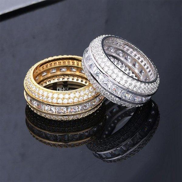 Мужчины обручальные обручальные кольца мужские ледяные кольца золото серебро Любовь кольцо бриллиантовое кольцо Роскошные дизайнерские ювелирные кольца мужские модные аксессуары фото