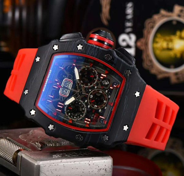 Men's watch quartz chronograph men's watch rubber strap sports men's fashion watches фото