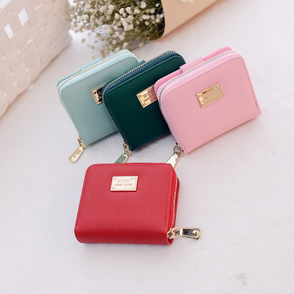 mini wallet ms. pu leather wallet fashion solid color buckle short female little woman cute little girl coin purse (530126906) photo