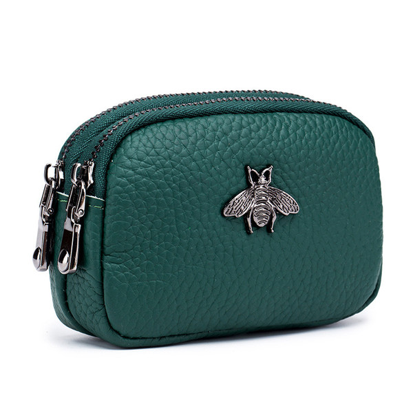 new designer coin purse leather cute double zipper coin purse mini coin purse (523826213) photo