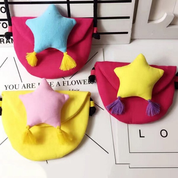 baby gril children coin purse cute star change purse wallet kids baby tassel handbag coin pouch small bag gift (540935700) photo