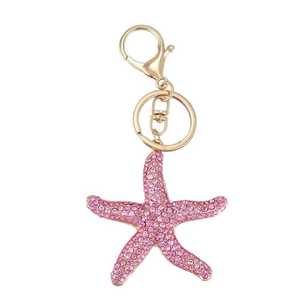 pretty sparkling starfish keychain keyring crystal rhinestones purse pendant handbag charm (pink) (513127726) photo