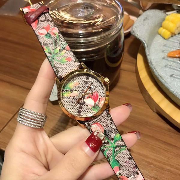 Top Designer Luxury Women Wristwatches Gci flower theme Orso fashion canvas strap Geranium print Womens Watch gc