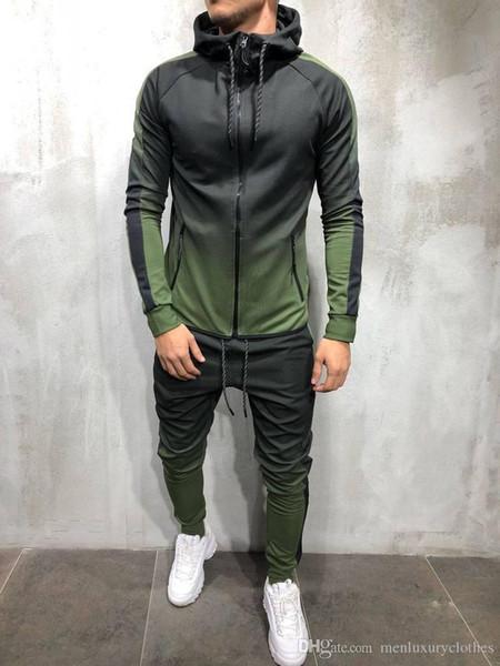 Мужская мода весна хип-хоп спортивные костюмы дизайнер кардиган толстовки брюки фото