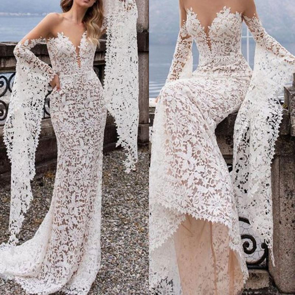 Women Beach Boho Sexy Dresses Bohemian Trumpet Trupmet Deep V Neck Lace Bridal Gown Female Wedding Elegant White Long Dresses