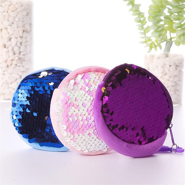 sequin round coin wallet mini girl change money storage keychain bag party favor girl keyring keyholder handbag gift purse jy681 (483452079) photo