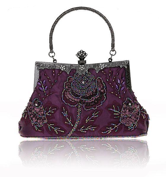 purple chinese women's beaded sequined wedding evening bag clutch handbag bride party purse makeup bag 03331-1-b (492264661) photo