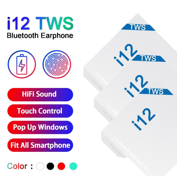 I12 tw  bluetooth 5 0 wirele   bluetooth headphone   upport pop up window earphone  colorful touch control wirele   head et earbud   ale