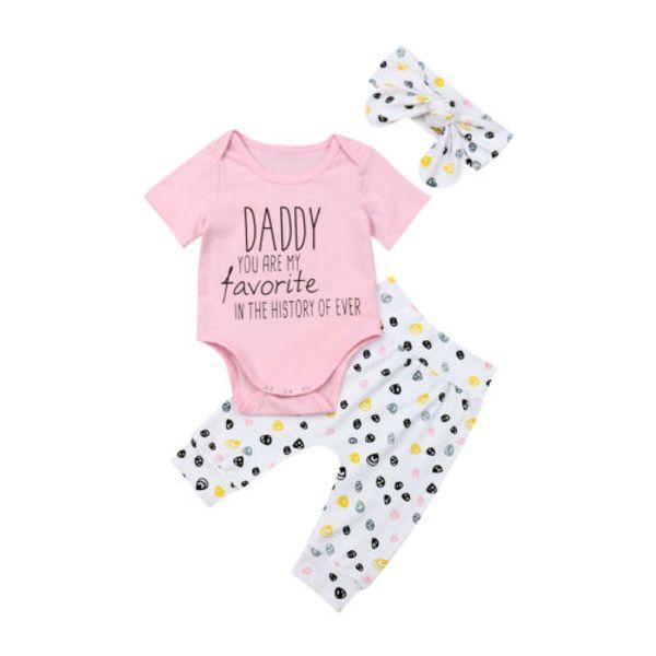 fashion newborn baby bibs girls 3pcs letter print  romper long pants bow headband outfits set clothes 0-24m
