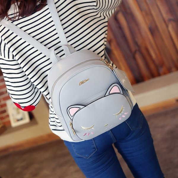 2020 new female backpack cartoon cat pattern backpack high-quality pu leather casual picture bag small purse (533576920) photo