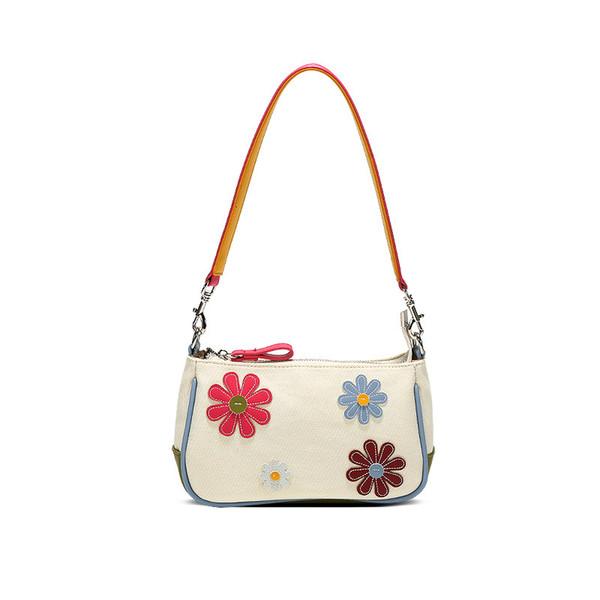 women bag 2020 new summer flower canvas baguette single lady shoulder bags handbag mori girl designer bags purse phone bag (553416579) photo
