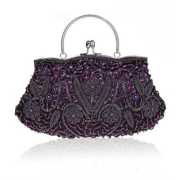 purple chinese women's beaded sequined wedding evening bag clutch handbag bride party purse makeup bag 03393-b (490862019) photo