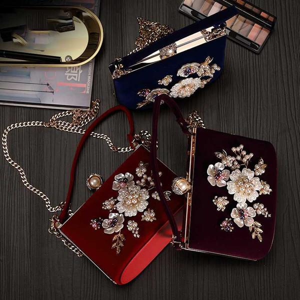 women fashion evening bag pearl flower diamond studded hasp corduroy fabric clutch purse lady girl crossbody shoulder handbag (549319402) photo
