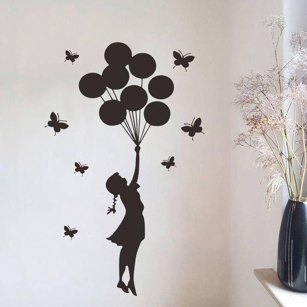 Черная бабочка шар девушка Стена Переводные картинки DIY Виниловые Съемные Banksy Wall фото