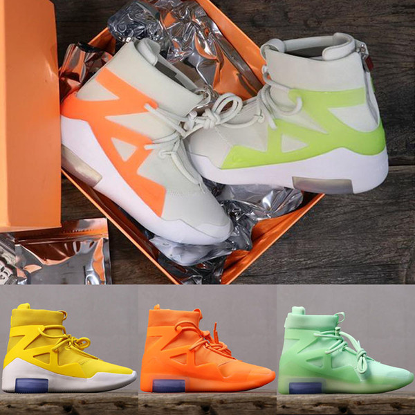 Top Quality Air New Design Fear of God 1 Mens Basketball Shoes FOG Boots Orange Green Black Sports Zoom Sneakers