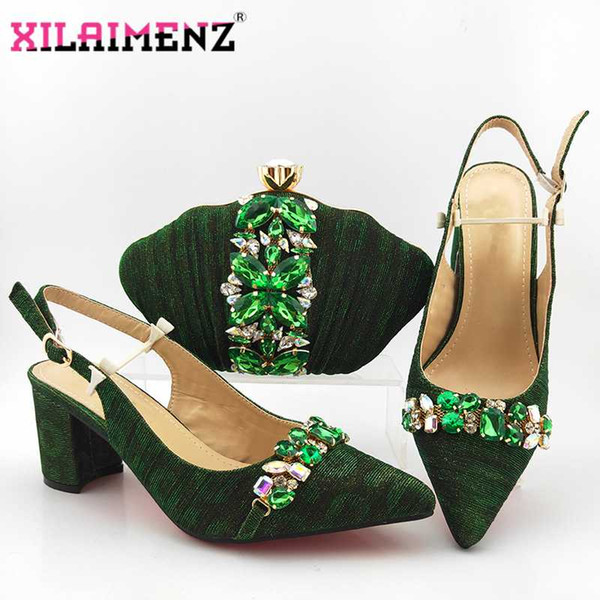 nigerian sandals with matching bag for woman pointed toe shoes and purse set african wedding pumps in green color (523854954) photo